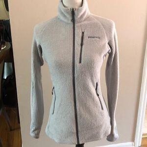 Patagonia light grey zip up fleece